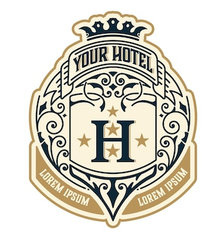 ヴィンテージのロゴテンプレート、ホテル、レストラン、ビジネスまたはブティックのアイデンティティ。エレガントなデザイン要素を繁栄させるデザイン。王族、紋章スタイル。