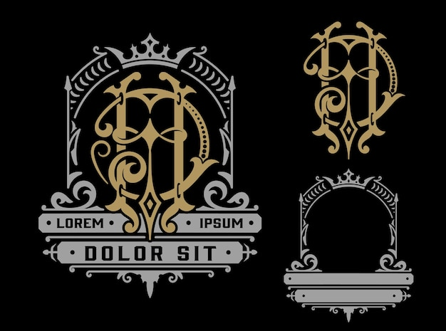 Vintage logo template with monogram, business identity.
