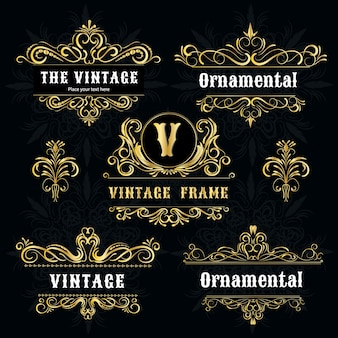 Vintage logo templates gold decorative frame.