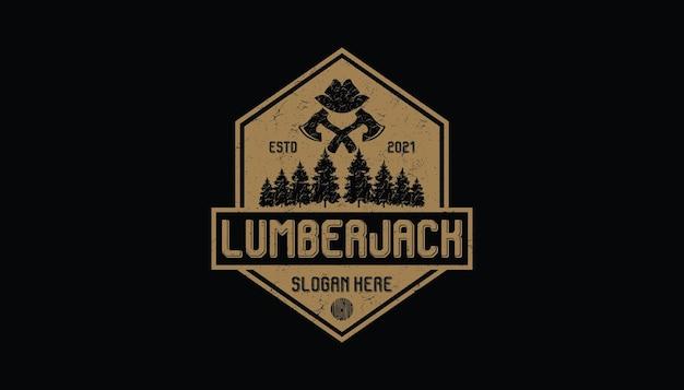 Винтажный логотип, тимберленд, дровосек, лесоруб и другие, эталонный логотип для вашей работы