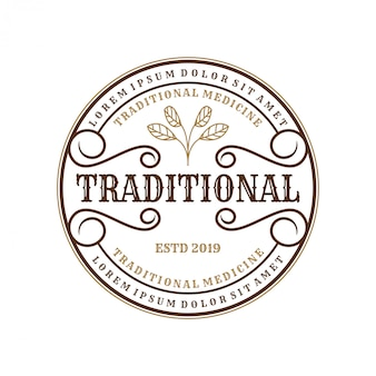 Vintage logo for traditional medicines for brand label