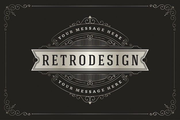 Vintage logo with elegant flourishes ornaments swirls and vignettes decorations.