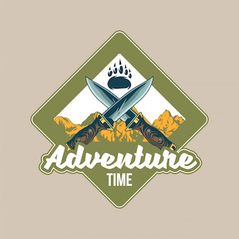Vintage logo,   with foot paw of grizzly bear, two old knives cross and mountains. adventure, travel, summer camping, outdoor, journey.