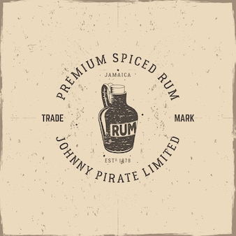 Vintage logo with rum bottle and text
