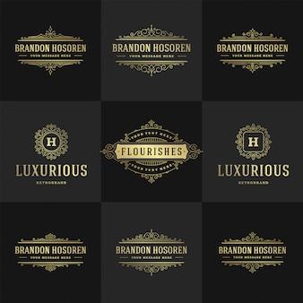Урожай логотипы и монограммы набор элегантный процветает линии искусства изящные орнаменты в викторианском стиле шаблон