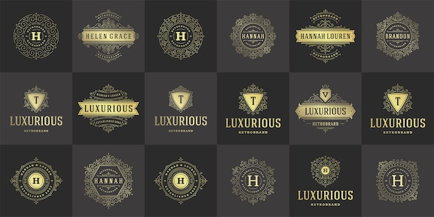 ヴィンテージのロゴとモノグラムセットエレガントな繁栄ラインアート優雅な装飾品ビクトリア朝様式のテンプレート。