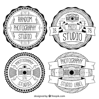 Vintage logos in black and white for photography studios