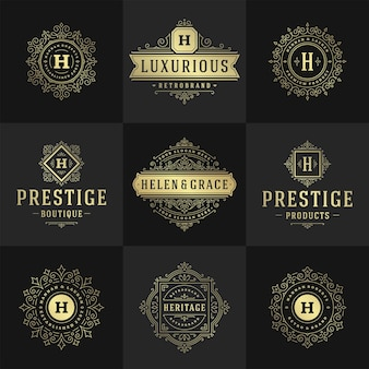 Vintage logos and monograms set elegant flourishes line art graceful ornaments victorian style template design