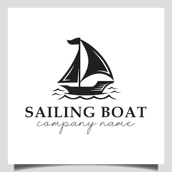 Vintage logos of sailing boat, yacht, silhouette of dhow wooden ship vector design on the sea for vacation logo design