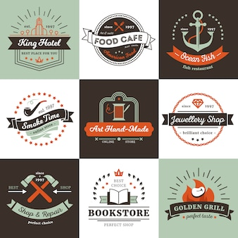 Vintage logos of shops hotel and cafe design concept with ribbons rays
