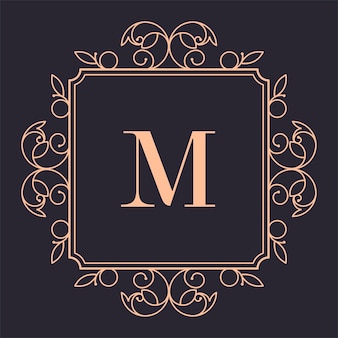 Vintage logotype with letter and ornaments, isolated frame with copy space for luxury brand presentation Premium Vector