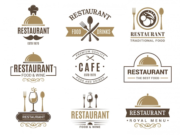Vintage logotypes and various symbols for   restaurant menu
