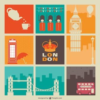 빈티지 런던 요소 카드