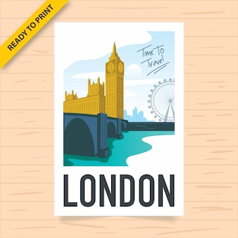 A vintage london poster design with big ben and parliament house with london skyline and london eye in the background as seen from the river thames, polaroid film style poster.