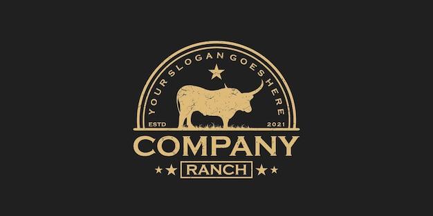 Винтажный логотип longhorn, логотип для ранчо и фермы