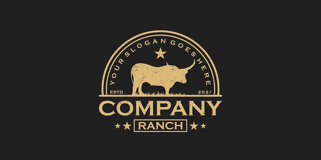 Vintage longhorn logo, logo for ranch and farm reference