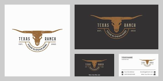 Винтажный лонгхорн, техасское ранчо, дизайн логотипа буйвола для фермера, ранчо и ресторана