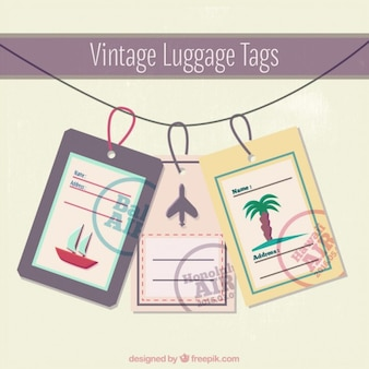 Vintage luggage tags template