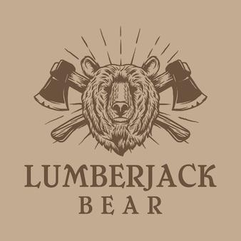 Vintage lumberjack bear logo design