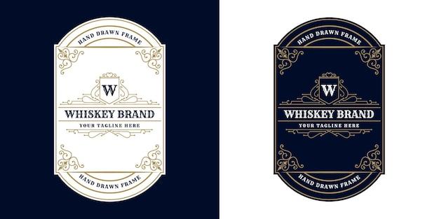 Vintage luxury antique whiskey border frame western engraving for beer wine whiskey packaging label