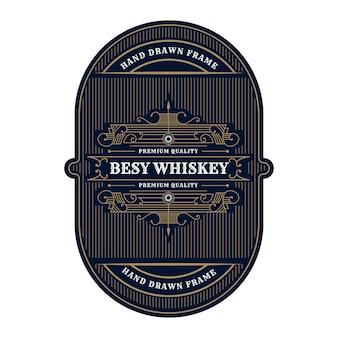맥주 와인 위스키 포장 라벨에 대한 빈티지 럭셔리 골동품 위스키 테두리 프레임 서양 조각