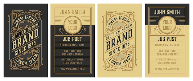 Vintage  and luxury business card template. retro elegant flourishes ornamental frame.