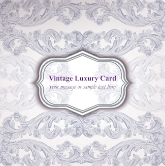 Vintage luxury card with baroque ornament vector. abstract design illustration. place for texts