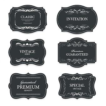 Vintage luxury decoration label banner badges set.