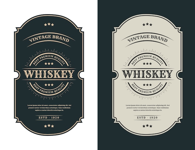 Vintage luxury frames logo label for beer whiskey alcohol and drinks bottle labels