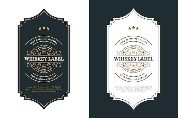 ビールウイスキーアルコールと飲み物のボトルラベルのヴィンテージ高級フレームロゴラベル