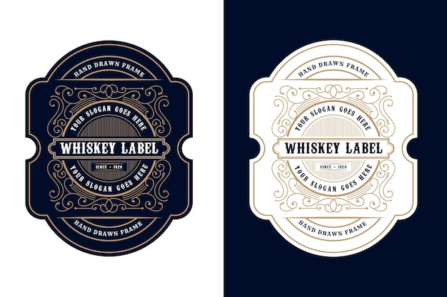 Vintage luxury frames logo label packaging for beer whiskey alcohol and drinks bottle labels