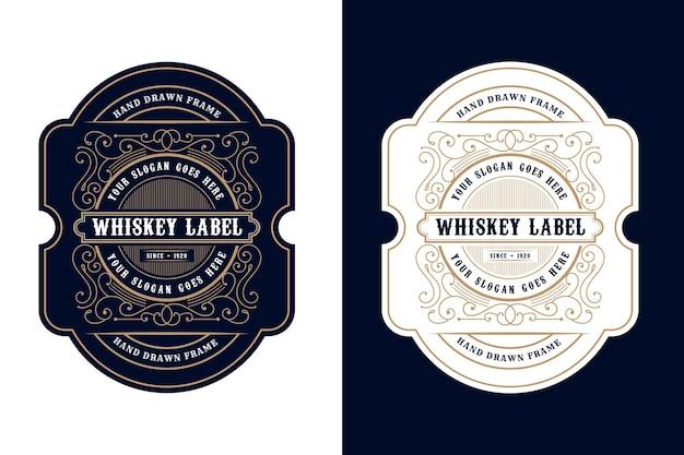 ビールウイスキーアルコールと飲み物のボトルラベルのヴィンテージ高級フレームロゴラベル包装