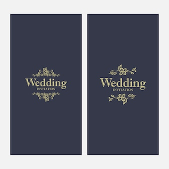 Vintage luxury gold floral dark background