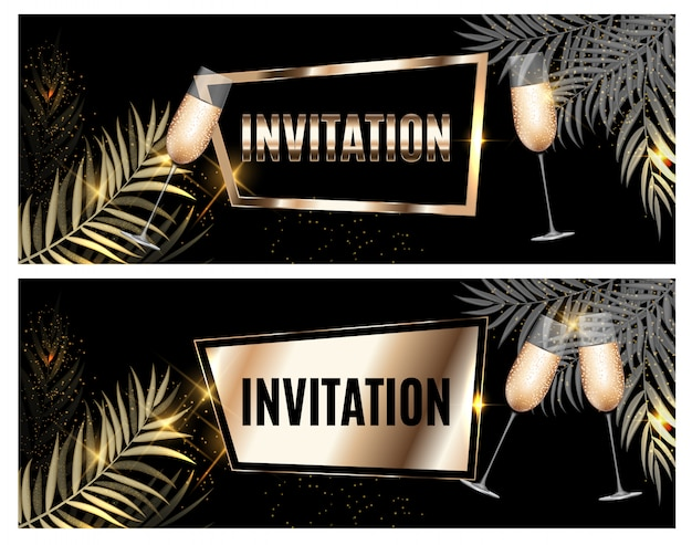Vintage luxury golden ornate invitation with palm leaf and glasses of champagne