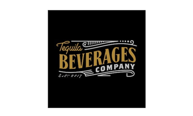 Vintage luxury label logo design for beverage