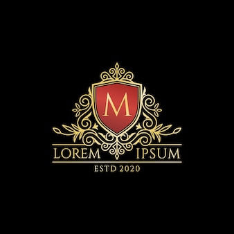 Винтаж роскошный логотип буква m коллекции дизайн