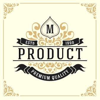 Шаблон логотипа монумента vintage luxury monogram