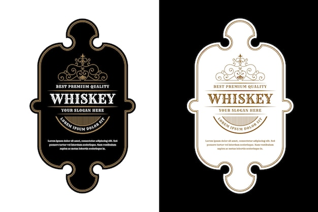 Vintage luxury  packaging frames logo label for beer whiskey alcohol and drinks bottle