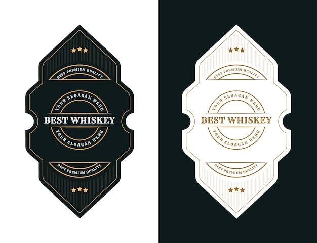 맥주 위스키 알코올 및 음료 병에 대한 빈티지 럭셔리 포장 프레임 로고 라벨
