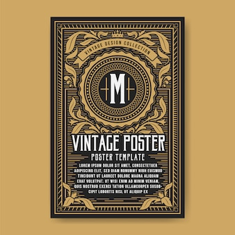 Vintage luxury poster background template