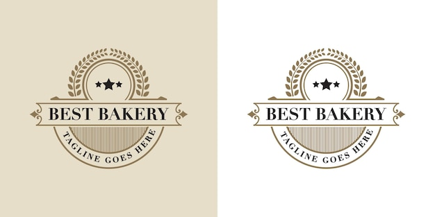 Vintage luxury and retro style bakery logo design template