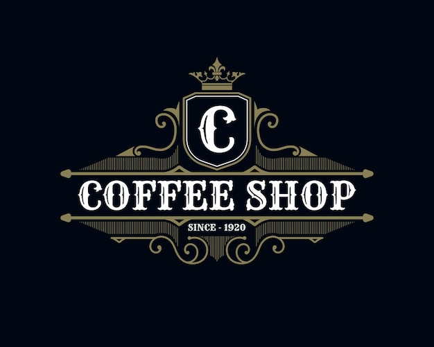 Vintage luxury and retro style coffee shop logo template