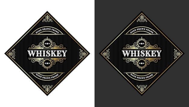 Vintage luxury royal frame labels with logo for beer whiskey alcohol drinks bottle packaging