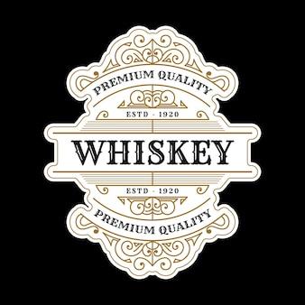 맥주 위스키 알코올 음료 병 포장 디자인을 위한 로고가 있는 빈티지 럭셔리 로얄 프레임 레이블 프리미엄 벡터