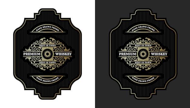 맥주 위스키 알코올 음료 병 포장용 로고가 있는 빈티지 럭셔리 로얄 프레임 레이블