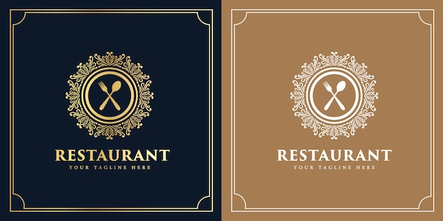 Vintage luxury style  western antique logo for hotel restaurant and coffee cafe