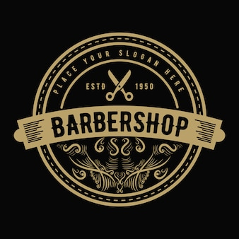 Vintage luxury style western antique logo for salon parlor  hair stylist and barbershop