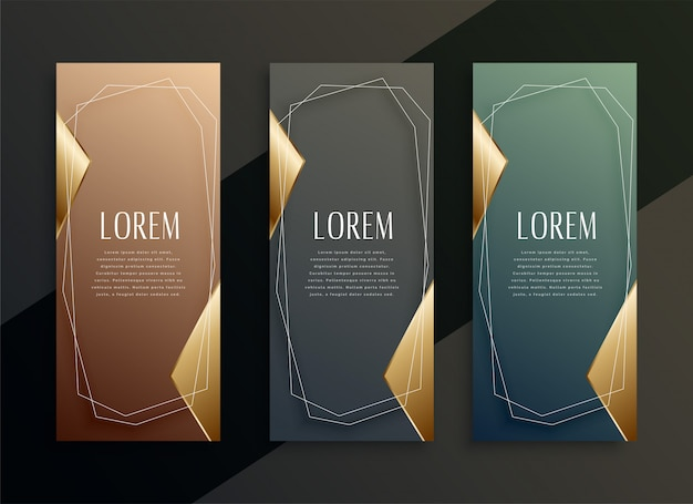 Vintage luxury vertical golden banners set
