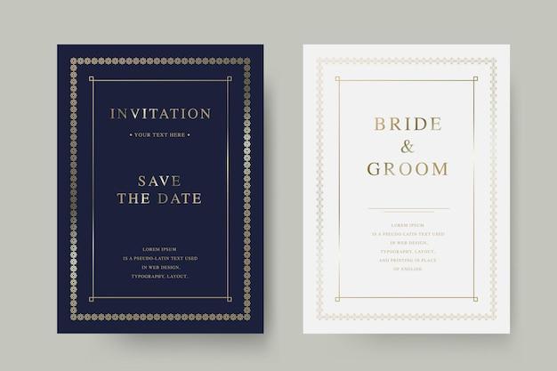 Vintage luxury wedding  invitation card