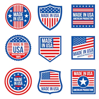 Vintage made in the usa badges.